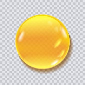 Runde tropfenvektorillustration des honigs lokalisiert auf transparentem hintergrund. flüssigkeitstropfen für lebensmittelverpackungen, kosmetisches desidn