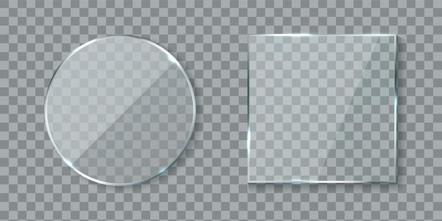 Runde und quadratische acryl-banner. spiegelglaslinse mit glänzenden blendreflexionen, realistisches klares wandfenster mit schatten isoliert auf transparentem hintergrund, 3d-vektor-modellsammlung