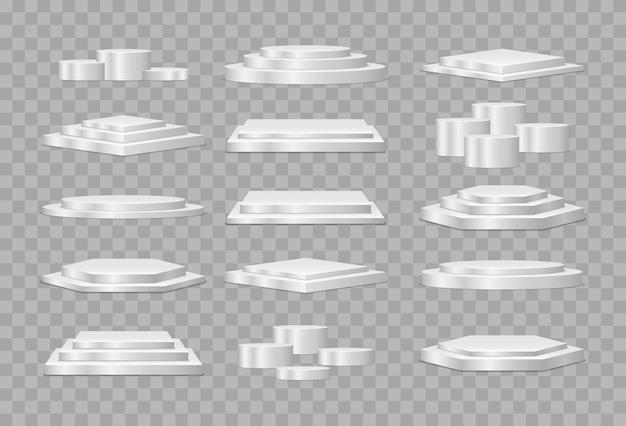 Runde und quadratische leere bühne und podiumstreppe vektor 3d vorlage. podium oder plattform für die produktpräsentation.