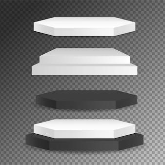 Runde und quadratische leere bühnen und podiumsvektor 3d-vorlage