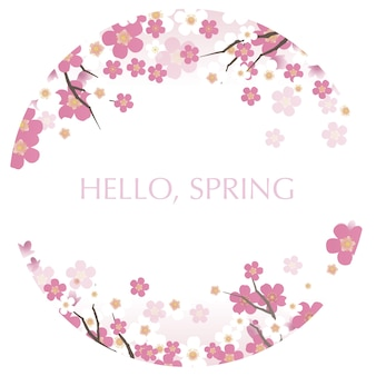 Runde vektorillustration mit kirschblüten in voller blüte und hallo frühlingstext