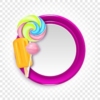 Runde vektorillustration mit süßigkeiten, bonbons und lutschern