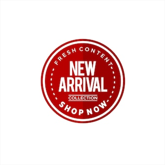 Runder aufkleber mit einfachem logotext der neuen ankunft
