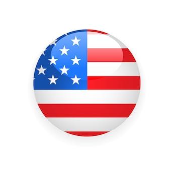 Runder ausweis mit usa-flagge auf weißem hintergrund