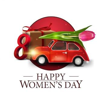 Runder banner der frauentag mit auto mit tulpe