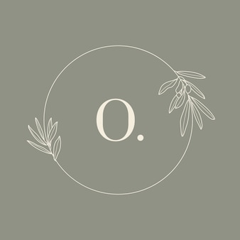 Runder blumenrahmen mit dem buchstaben o. hochzeitsmonogramm und logo mit olivenzweig im modernen minimalistischen liner-stil. vektorvorlage für einladungskarten, save the date. botanische illustration