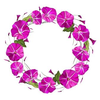 Runder blumenrahmen mit rosa blumenwinde.