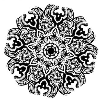 Runder blumenrahmen schwarz und weiß