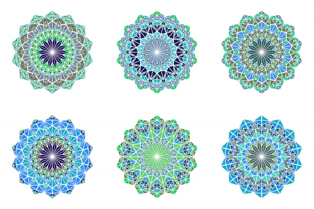 Runder bunter mandala-logo-satz - polygonale dekorative vektorelemente