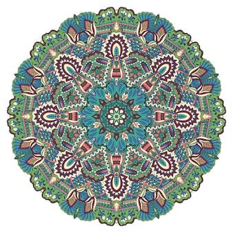 Runder ethnischer blumenmedaillon der weinleseblume, illustration auf weißem hintergrund. dekorative mandala blumen