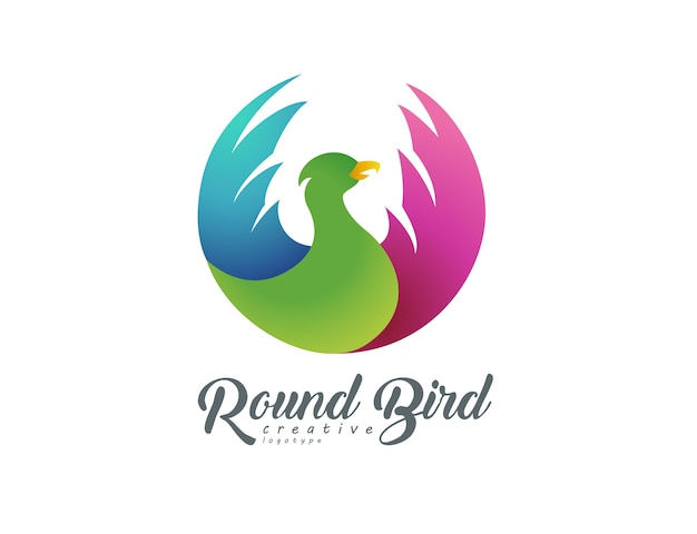 Runder fliegender vogel logo