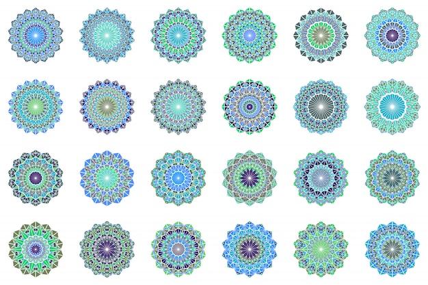 Runder geometrischer dreieckfliesen-mandala-symbolsatz