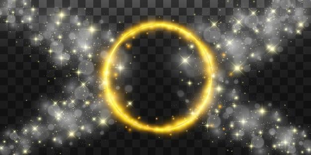 Runder glänzender perfekter hintergrund. eps10. schönes licht. magischer kreis. wertvoller hintergrund. runder goldglänzender rahmen mit lichtblitzen.
