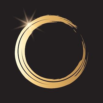 Runder goldener grunge-rahmen auf kariertem hintergrund. kreis luxus vintage grenze