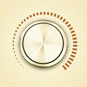 Runder goldgebürsteter metallischer lautstärkeregler oder knopf mit einer roten skala, die zunehmende dezibel und tonausgabe auf elektronischer musik oder rundfunkgeräten mit dimensionalem schattenvektorsymbol anzeigt