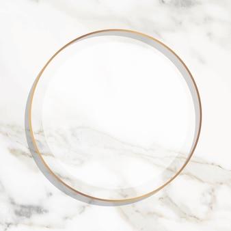 Runder goldrahmen auf weißem marmorhintergrundvektor