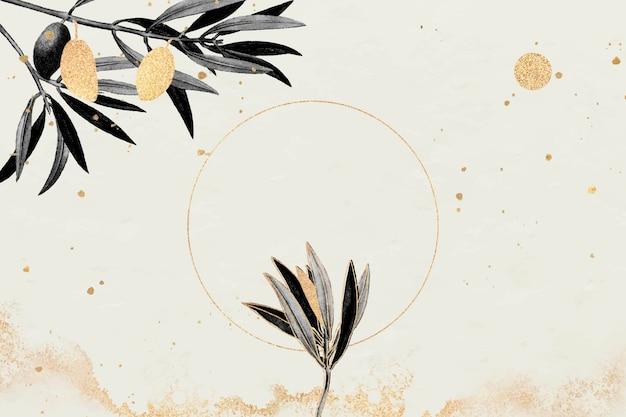 Runder goldrahmen mit olivenzweigvektor