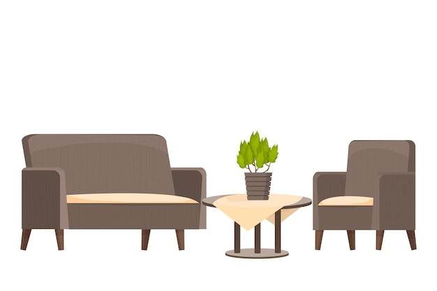 Runder holztisch mit tischdecke und sessel mit sofa im cartoon-stil, isoliert auf weißem hintergrund