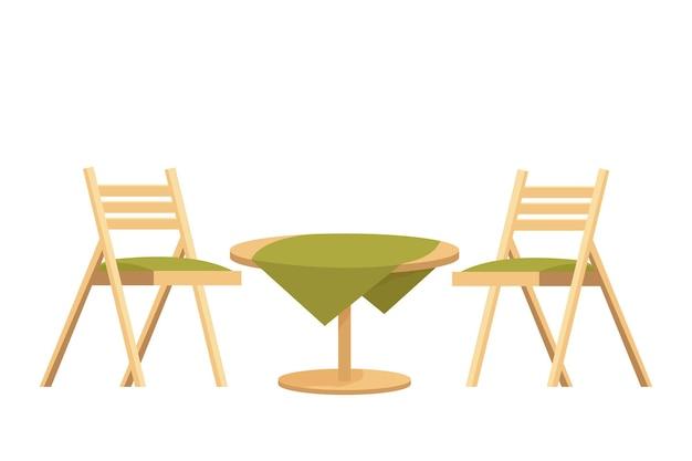 Runder holztisch mit tischdecke und zwei stühlen im cartoon-stil
