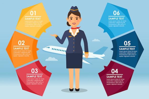 Runder infografiker mit stewardess und flugzeug