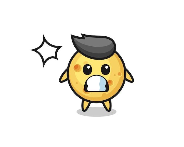 Runder käse-charakter-cartoon mit schockierter geste, süßem stildesign für t-shirt, aufkleber, logo-element