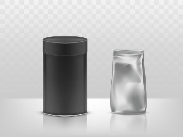 Runder karton und folie aus schwarzem kartonpapier, versiegeltes kunststoffpaket, behälter