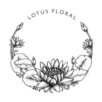 Runder lotos mit blumen