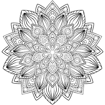 Runder mandala für henna, mehndi, tattoo, dekoration. dekorative verzierung im ethnischen orientalischen stil. malbuch seite.