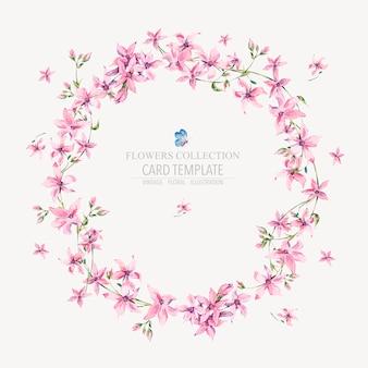 Runder mit blumenkranz der vektorweinlese mit rosa wildflowers