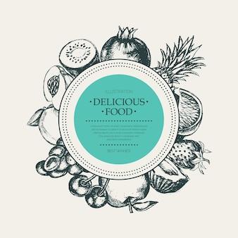 Runder obstrahmen - moderne handgezeichnete designillustration des vektors mit exemplar für ihr logo. trauben, kirschen, ananas, erdbeere, kokosnüsse, apfel.