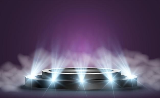 Runder podestsockel oder plattform, die von scheinwerfern im hintergrund beleuchtet wird vektorillustration