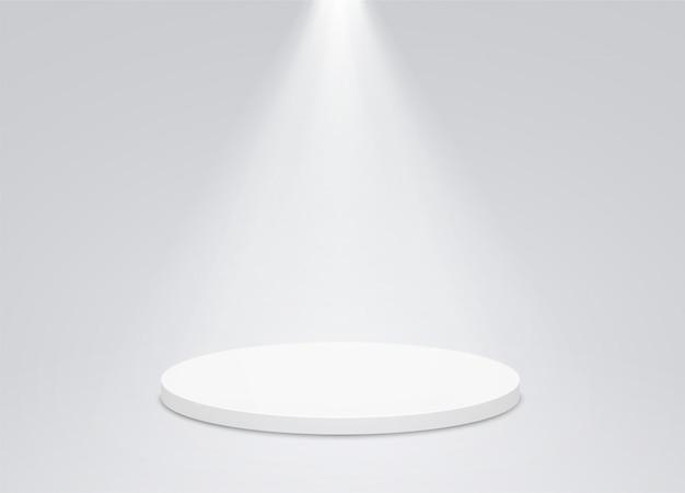 Runder podiumsockel mit heller beleuchtung, suchscheinwerfer.