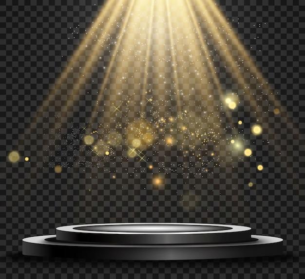 Runder podiumsockel oder plattform, beleuchtet von scheinwerfern. helles licht licht von oben