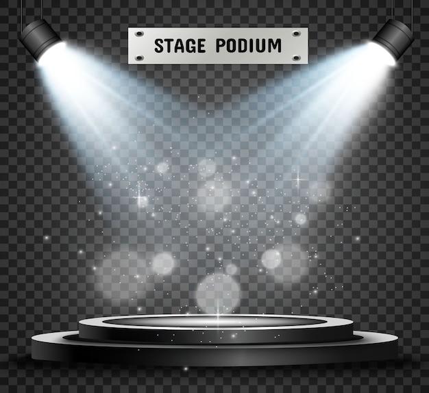 Runder podiumsockel oder plattform, beleuchtet von scheinwerfern
