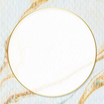 Runder rahmen auf braunem aquarellfleckvektor