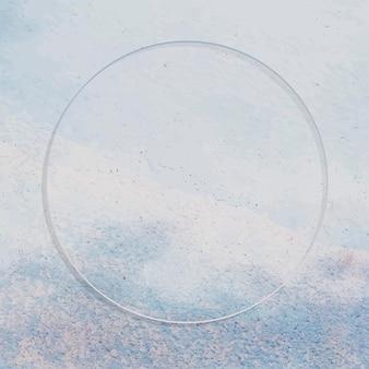Runder rahmen auf strukturiertem hintergrund in hellblauer farbe