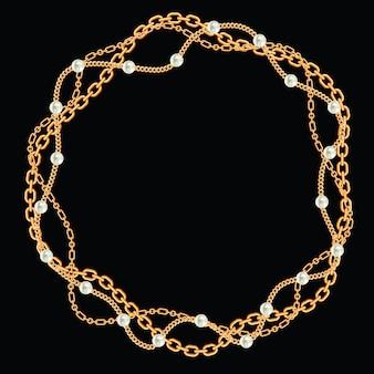 Runder rahmen aus verdrehten goldenen ketten. mit perlen auf schwarz. vektor-illustration