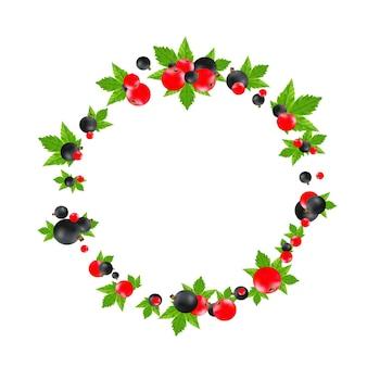 Runder rahmen der schwarzen und roten johannisbeere lokalisiert auf weißem hintergrund. hochwertige realistische vektorgrafik. beeren mit blattetikett für das verpackungsdesign von saft oder marmelade