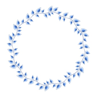 Runder rahmen des blauen porzellans der blauen blätter mit der schönen volksverzierung. illustration. dekorative komposition.