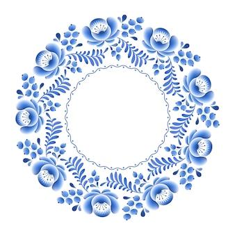 Runder rahmen des russischen porzellans der blauen blumen mit der schönen volksverzierung. illustration. dekorative komposition.