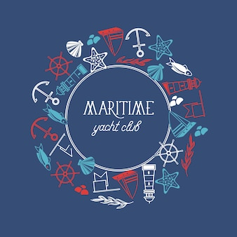 Runder rahmen maritimer yachtclubplakat mit zahlreichen symbolen einschließlich fisch, schiff, roten sternen und flaggen um den text auf dem blauen