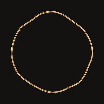 Runder rahmen mit goldener kette. auf schwarz