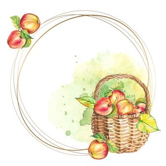 Runder rahmen mit korb mit äpfeln.