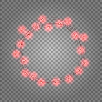 Runder rahmen mit leuchtenden lichtern, rote girlanden.