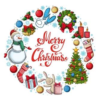Runder rahmen mit weihnachtsikonen. bunte skizzenartweihnachtsillustration für dekoration.