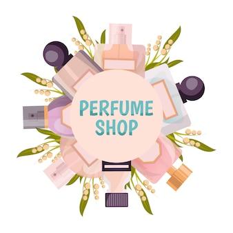 Runder rahmenhintergrund des parfümshops in den pastelltönen mit flacons und maiglöckchen