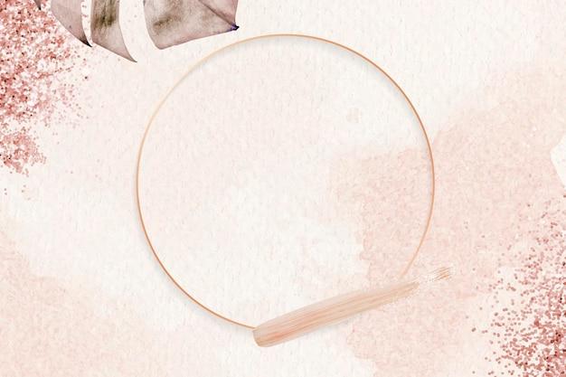 Runder rosa goldrahmen mit monstera-blattmuster-hintergrundvektor