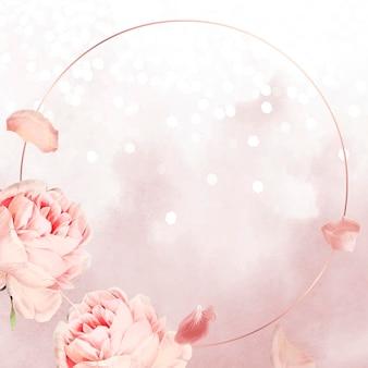 Runder rosa rosenrahmen