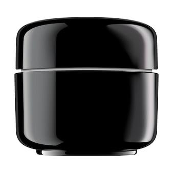 Runder schwarz glänzender kunststoffbehälter für kosmetikprodukte: pulver, sahne, lotion, peeling, butter, produkt, flüssigkeit. vektor 3d getrenntes leerzeichen.