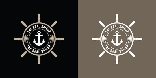 Runder seemann-logo-anker der weinlese-retro-art, nautischer retro-hipster-entwurf mit schiffsradschablone